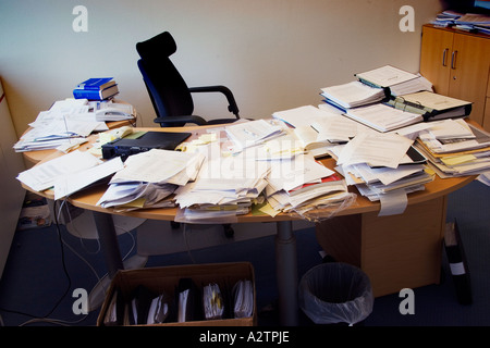 messy desk at office - Stock Photo
