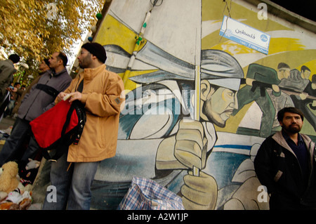 Large billboards with Iranian propaganda regarding the Israeli-Palestinian conflict, in Tehran, Iran - Stock Photo