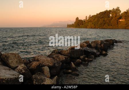 Lake Geneva Yvoire France at sunset - Stock Photo