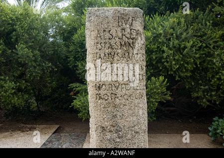 Roman milestone from 83 CE the Antioch Akko - Stock Photo