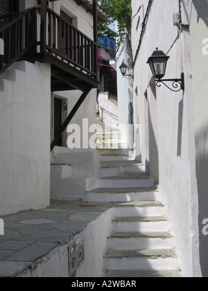 Steps in back streets and alleyways of Skiathos Town Greece - Stock Photo