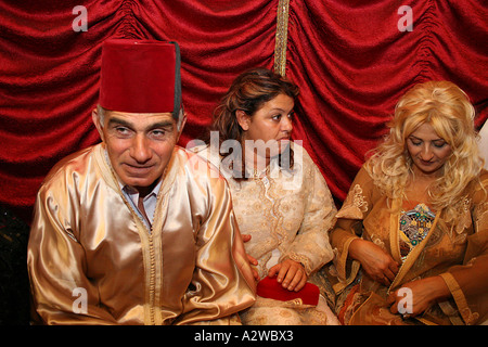 The brides family in traditional Moroccan dress - Stock Photo