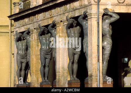 Russia St Petersburg the New Hermitage portico with Atlantes statues - Stock Photo