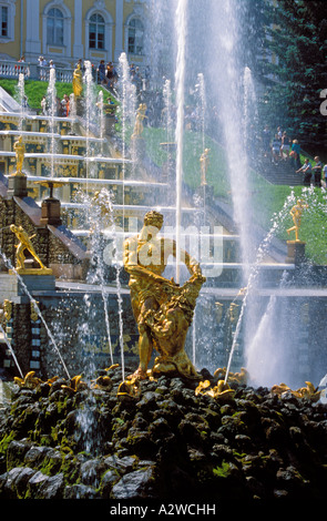 Russia Peterhof also known as Petrodvorets the statue of Samson at the Grand Cascade - Stock Photo