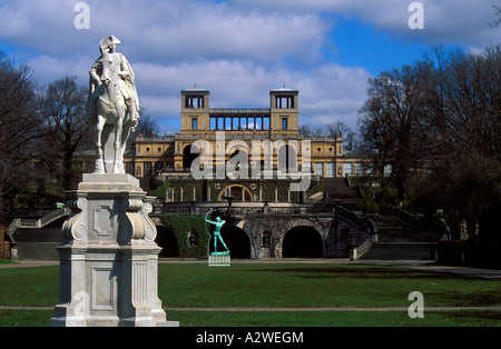 Germany Potsdam statue of Frederick the Great in front of the Orangerie at Sanssouci - Stock Photo