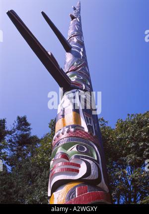 Kwakwaka'wakw (Kwakiutl) Totem Pole, Beacon Hill Park, Victoria, BC, British Columbia, Canada, Vancouver Island, - Stock Photo