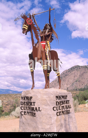 Metal Indian Sculpture at Nk'Mip Desert Cultural Centre, Osoyoos, BC, British Columbia, Canada - Stock Photo