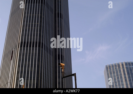 closed circuit television cctv camera in front of a building in the city of london - Stock Photo