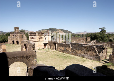 View from Fasalidas Palace of old historic building ruins in Royal Enclosure of Gonder 17 19C capital city of Ethiopia - Stock Photo