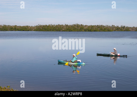 FISHING FROM KAYAKS IN J N DING DARLING NATIONAL WILDLIFE REFUGE ON SANIBEL ISLAND FLORIDA - Stock Photo