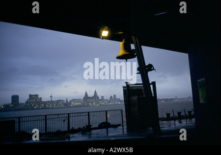 Liverpool's Liver building as seen from the pier at Seacomb,UK 1992 - Stock Photo