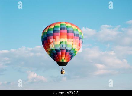 Hot air balloon in flight . - Stock Photo