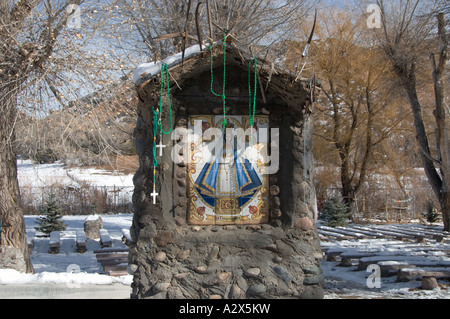 Altar at the Sanctuary at Chimayo, New Mexico at Christmas 4 - Stock Photo