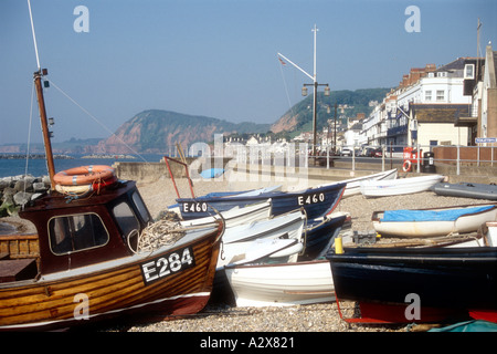 Fishing boats on sidmouth beach devon uk stock photo for Small fishing boats with motor