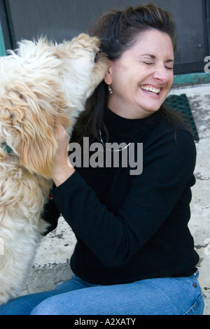 Woman affectionately greeted by Gunner a Goldendoodle - golden retriever poodle hybrid. St Paul Minnesota USA - Stock Photo