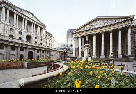 The Royal Exchange and Bank of England City of London - Stock Photo