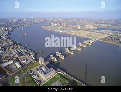 Aerial view of the Thames Flood Barrier - Stock Photo