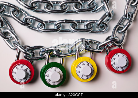 Locks and chain - Stock Photo