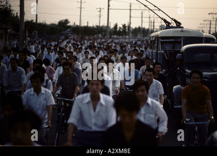 crowd of cyclists in china 1983 - Stock Photo