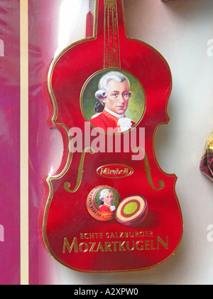 Salzburg The very famous and genuine Salzburger Mozartkugeln by Mirabell - Stock Photo