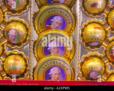 Salzburg The very famous and genuine Salzburger Mozartkugeln and Mozarttaler by Mirabell - Stock Photo