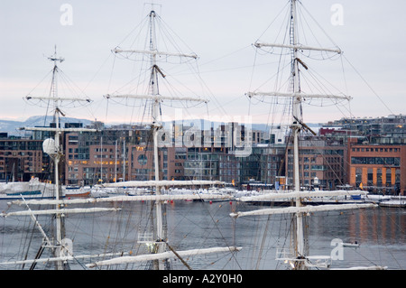 View of Aker Brygge from across the Oslofjorden from Akershus Slott, Oslo, Norway - Stock Photo