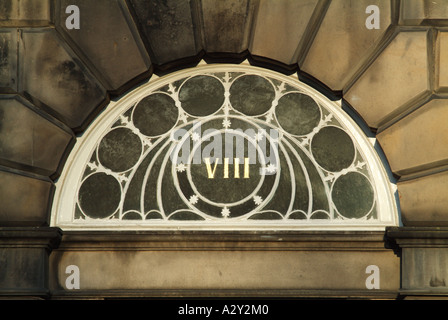 Ornate fanlight over a door in an early 19th century Neo-Classical building in the New Town, Edinburgh, Scotland, - Stock Photo