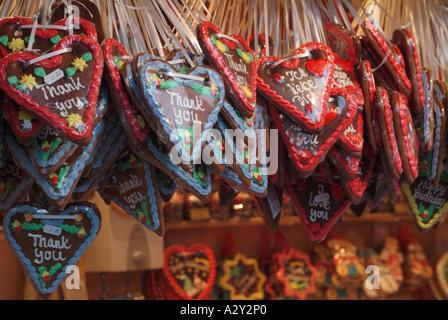 Lebkuchenherz hanging from a stall at the German Christmas Market, Edinburgh, Scotland, UK. - Stock Photo