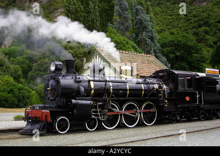 The Kingston Flyer steam train at Kingston Station, on the Southern shores of Lake Wakatipu, New Zealand South Island - Stock Photo