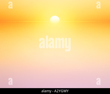 stylized sunset over a body of water - Stock Photo