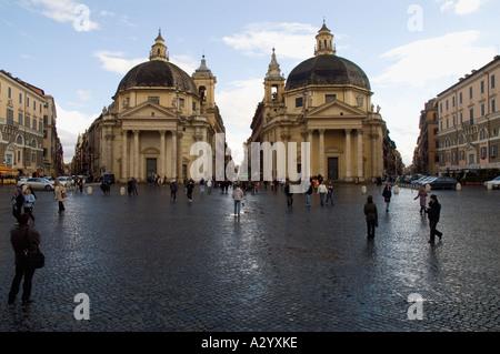 Twin churches  Santa Maria dei Miracoli and Santa Maria di MontesantoRome Italy - Stock Photo