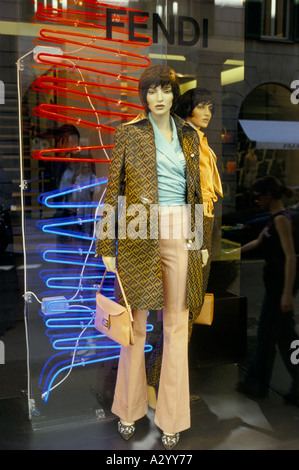 designer for fendi dyns  Dummies in window of the designer shop Fendi in Via Spiga District of  Milan