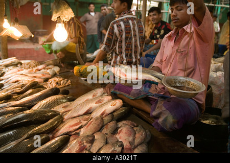 A fish market in Dhaka Bangladesh - Stock Photo