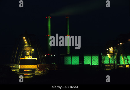 Lausward natural gas fired power station close to the container terminal in Dusseldorf, North Rhine-Westphalia, - Stock Photo