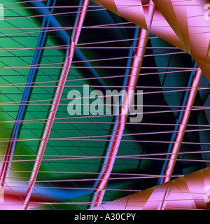 Computer generated fractal image arabesque architecture art artificial complex horizontal harp illusion intrigue - Stock Photo