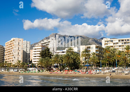 View of the beachfront at Marbella - Stock Photo