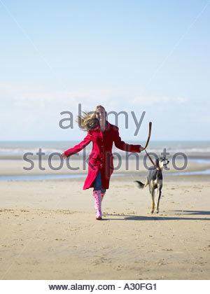 Woman walking dog on beach - Stock Photo