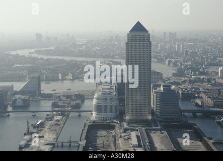 aerial view canary wharf docklands 1993 - Stock Photo