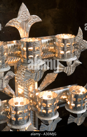 Mexican christmas silver candle holder - Stock Photo