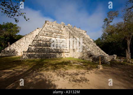 The Ossuary or tomb of the High Priest at the ruined Mayan city of Chichen Itza in Mexico - Stock Photo