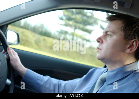 Royalty free photograph of British business driver commuter driving London UK - Stock Photo
