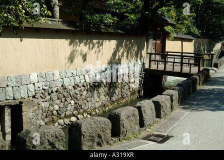 Old samurai's houses at Nagamachi district. Kanazawa. Ishikawa Prefecture. Japan - Stock Photo