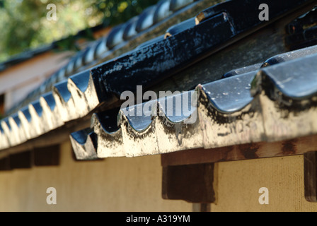 Ceramic roofing tiles. Old samurai's houses at Nagamachi district. Kanazawa. Ishikawa Prefecture. Japan - Stock Photo