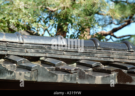Ceramic roofing tiles.Old samurai's houses at Nagamachi district. Kanazawa. Ishikawa Prefecture. Japan - Stock Photo
