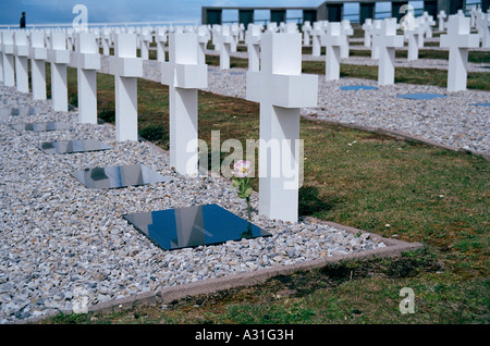 British soldier walks through the Argentine Military Cemetery at Darwin, East Falkland, Falkland Islands, South - Stock Photo