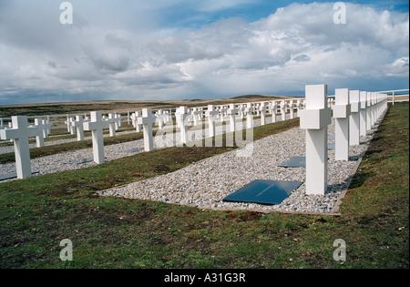 Argentine Cemetery, (Cementerio de Darwin), Darwin, East Falkland, Falkland Islands, South Atlantic - Stock Photo