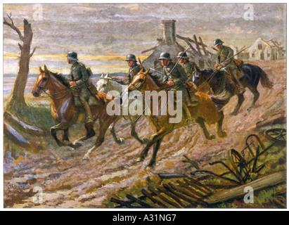 German Cavalry Patrol - Stock Photo