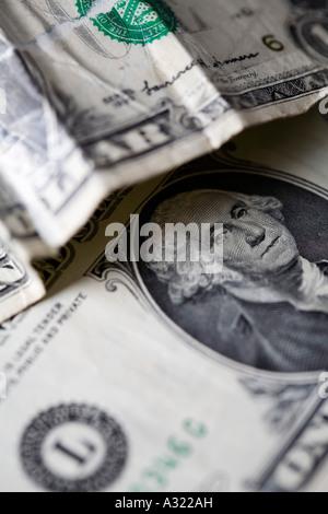 Crumpled Dollar Bills - Stock Photo