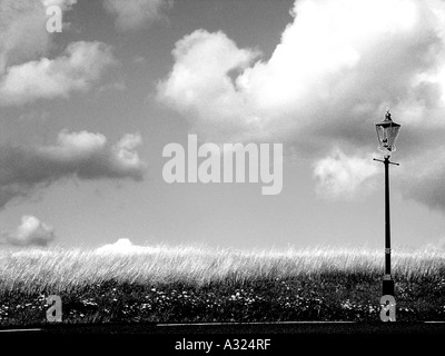 black and white picture of victorian gas lamp on malvern common with a bright blue summer sky in worcestershire - Stock Photo