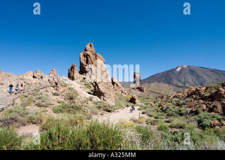Mount Teide and Los Roques de Garcia, Las Canadas del Teide, Tenerife, Canary Islands, Spain - Stock Photo